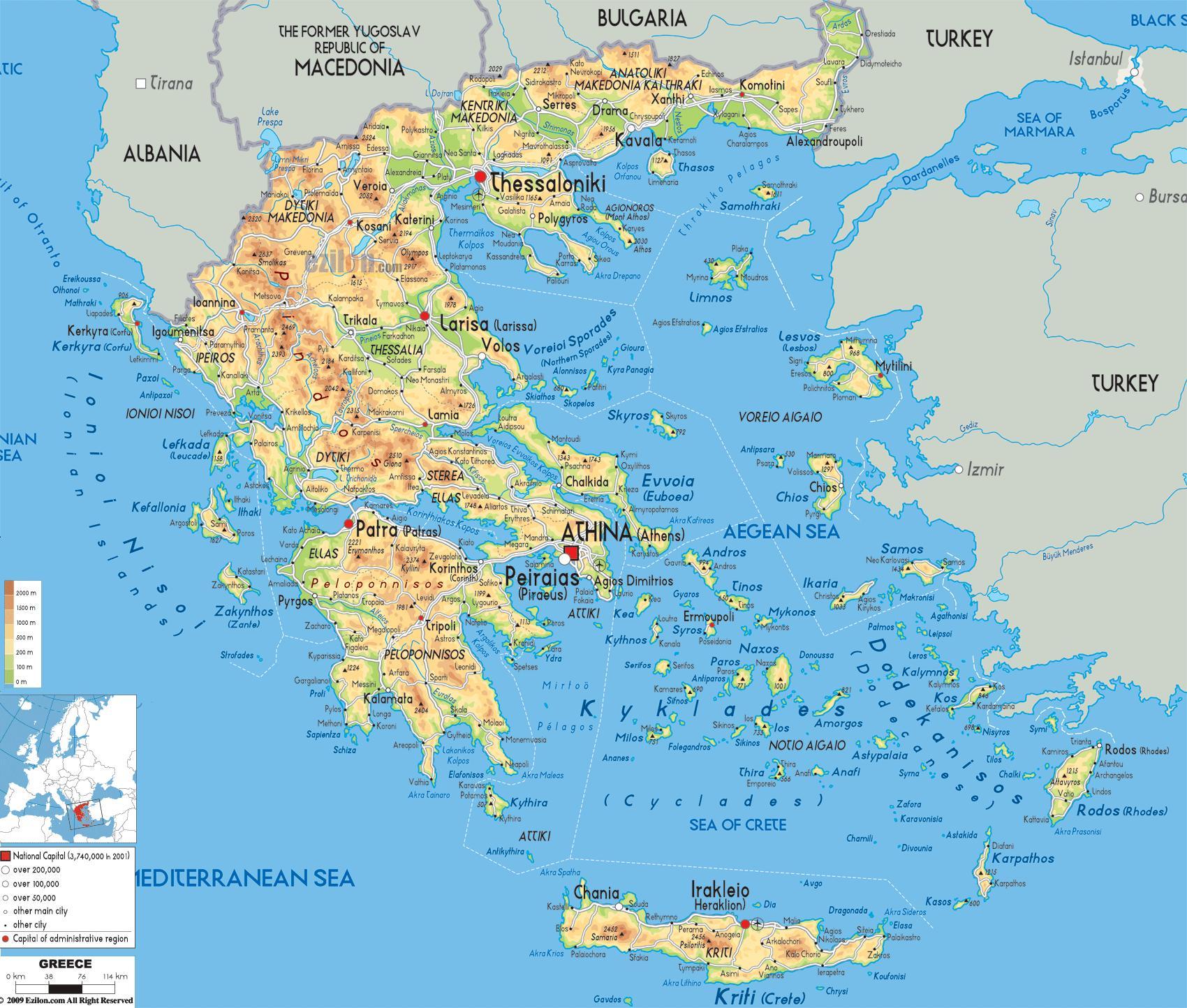 geografska mapa grcke Grčka geografija kartica   Geografska karta Grčke (Južna Europa  geografska mapa grcke