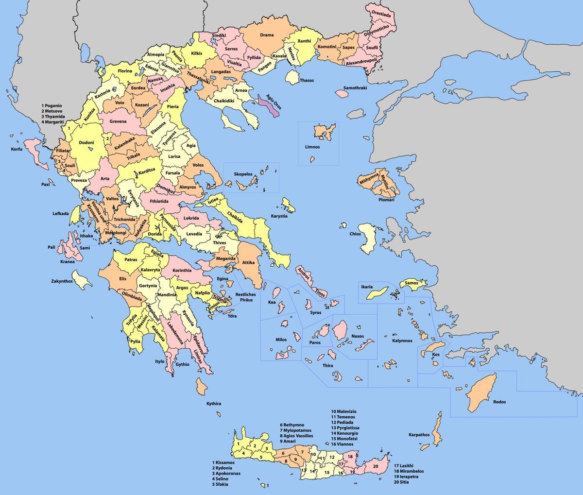 Grcka Karta Regije Karta Grcke Regije Juzna Europa Europa