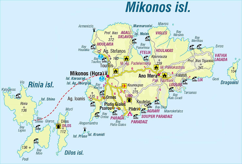 karta mykonos Karta Mikonos u Grčkoj   karta Grčka Mykonos (Južna Europa   Europa) karta mykonos