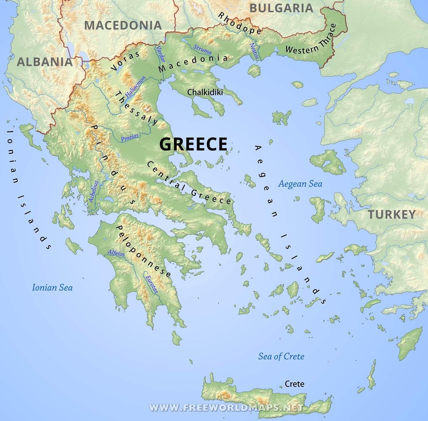 Planine U Grckoj Karta Grcke Planine Juzna Europa Europa