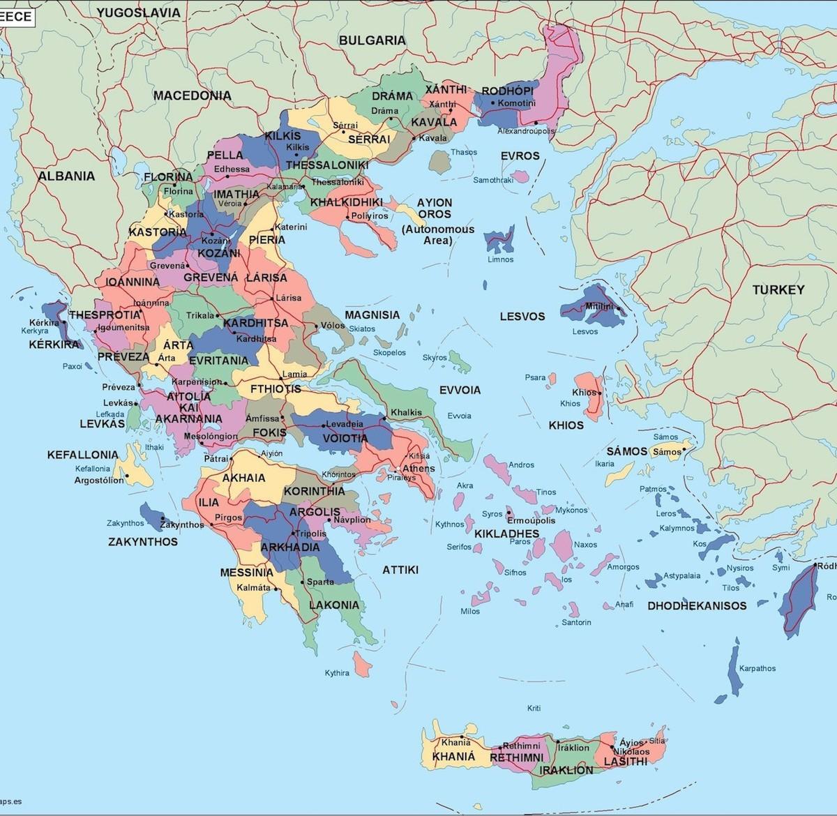 politicka karta grcke Grčka politička karta   politička karta Grčke (Južna Europa   Europa) politicka karta grcke