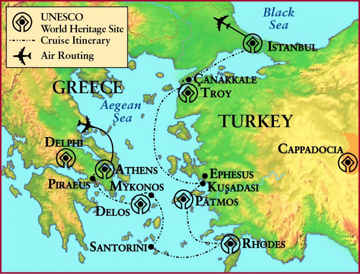 karta grcke santorini Drevna Grčka Troy   karta Antičke Grčke i Troje (Južna Europa  karta grcke santorini