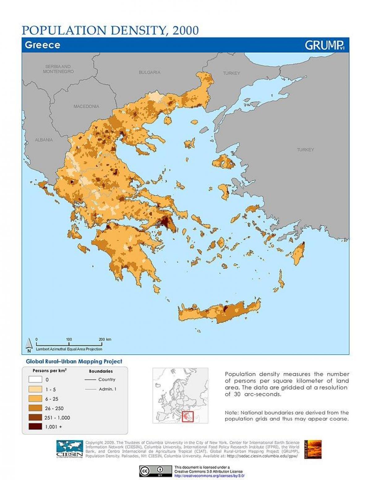 Grcka Karta Gustoce Stanovnistva Karta Gustoce Stanovnistva Grcke